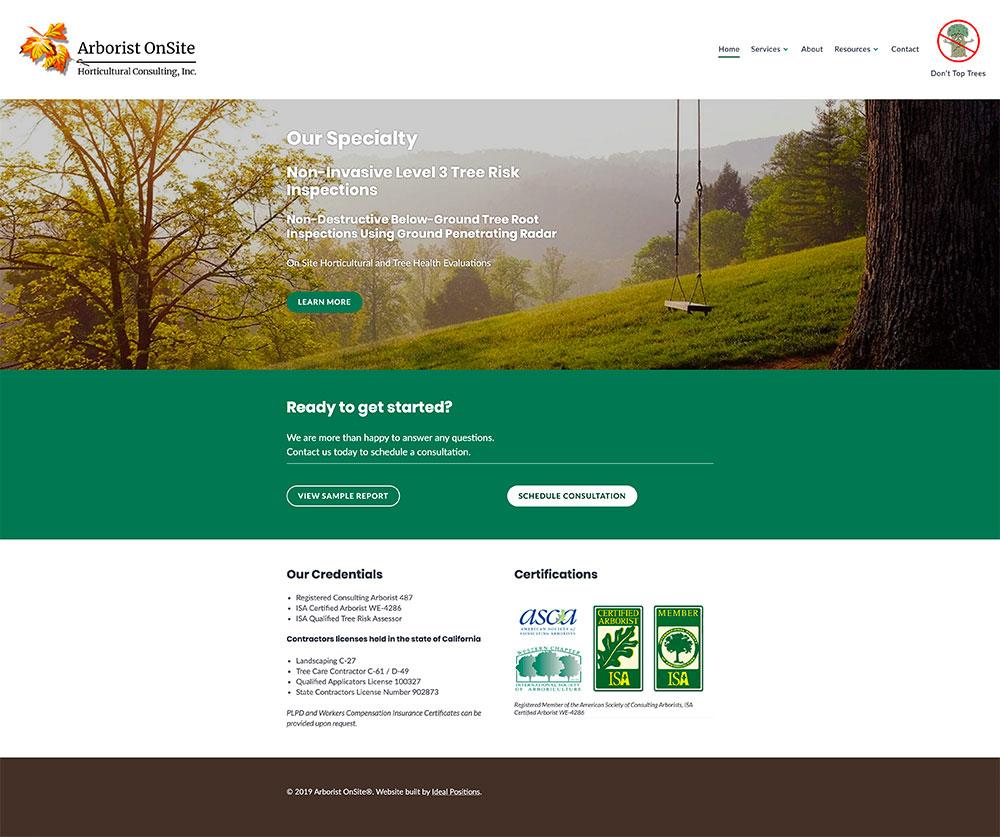 screenshot of arborist website