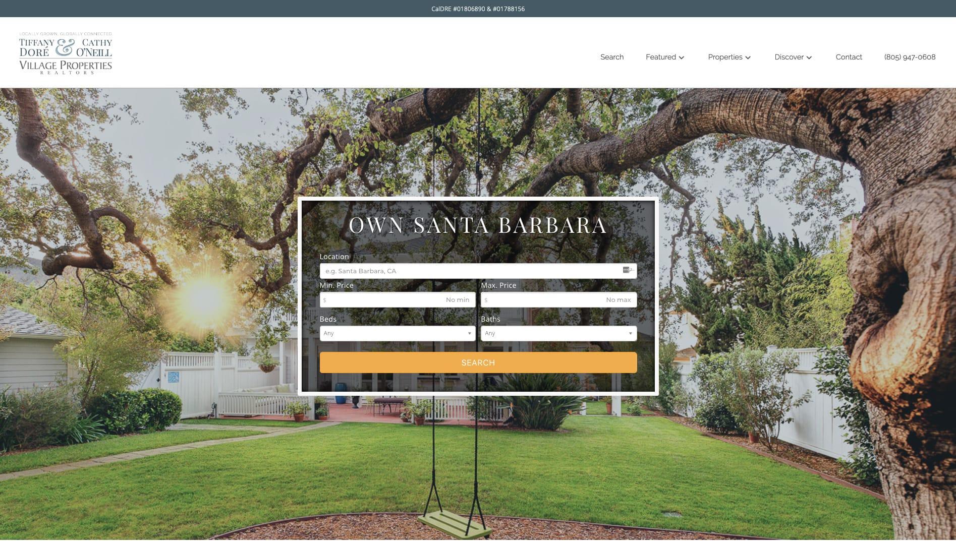 screenshot of real estate wordpress site