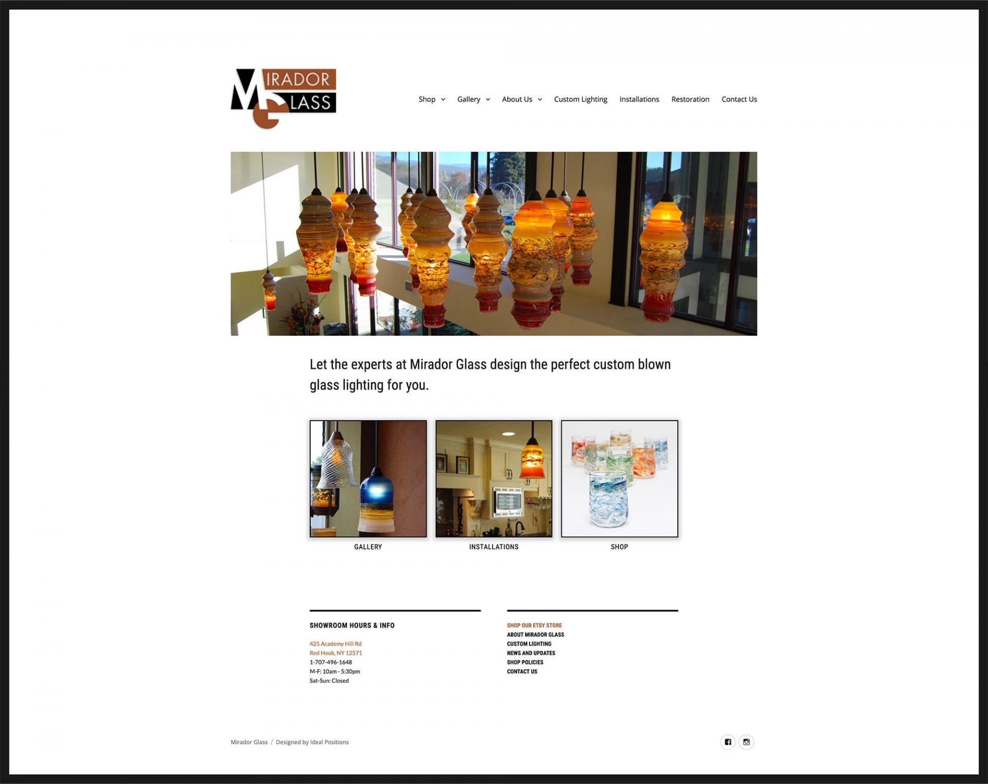 screenshot of website for local custom glass retailer